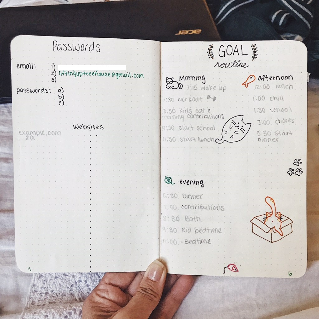 bullet journal spread