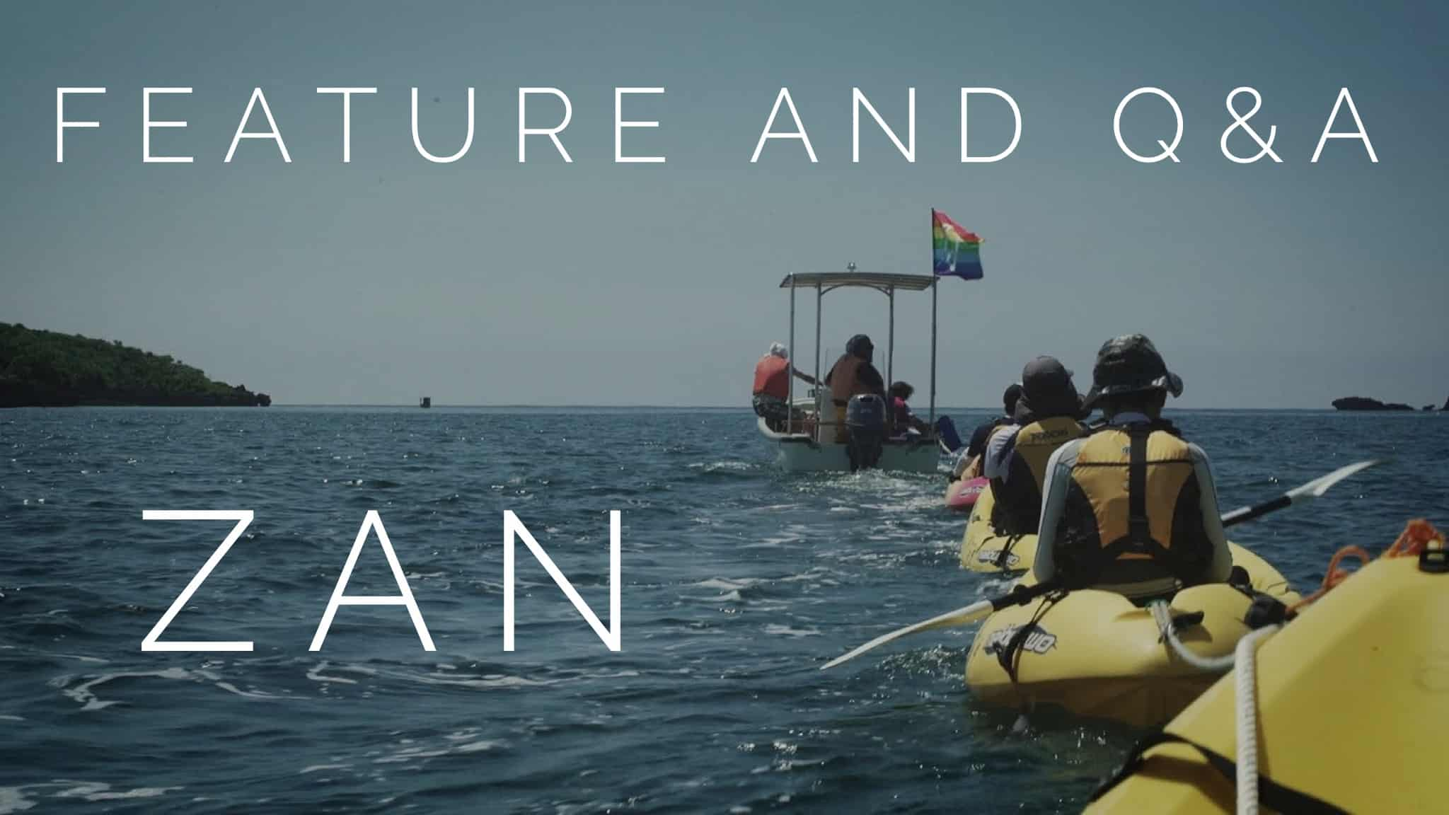A still from the film 'Zan' showing kayaks in the ocean