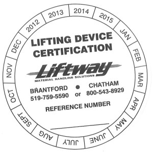 Liftway Lifting Device Inspection Certificate