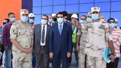 صورة وزير الرياضة يطمئن على معدلات انجاز إنشاء الصالة المغطاة ببرج العرب استعداداً لمونديال اليد