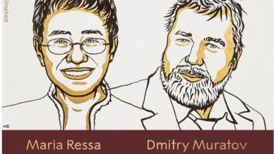 صورة الاتحاد الدولي للصحفيين يهنئ ريسا وموراتوف ، أول صحفيين يفوزان بجائزة نوبل للسلام