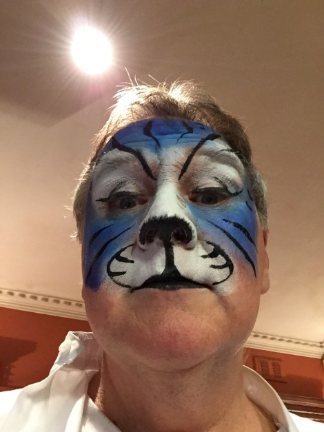 blue face painted tigerish image