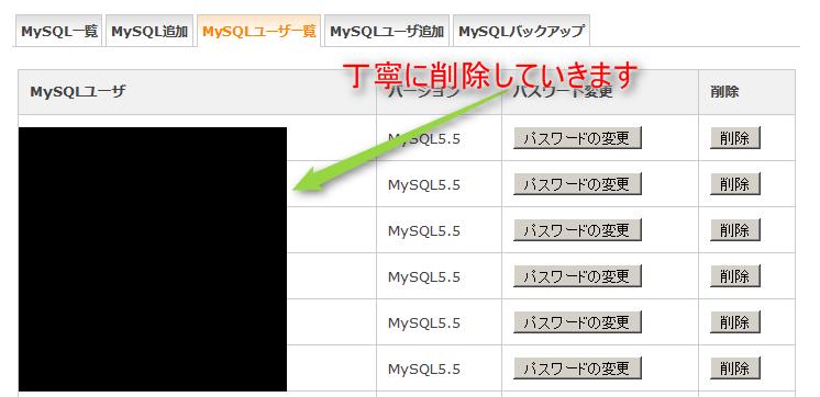 MySQLユーザーの追加設定可能な上限数に達しているため追加できません 11