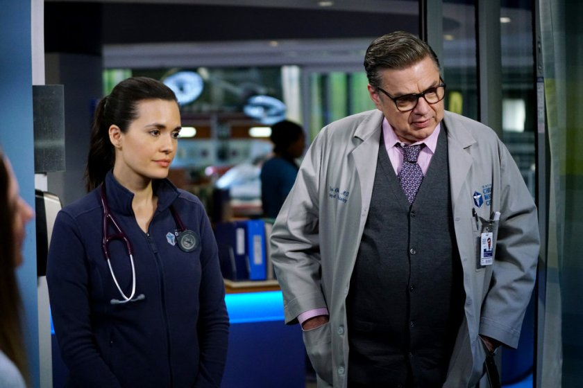 """CHICAGO MED -- """"So Many Things We've Kept Buried"""" Episode 610 -- Pictured: (l-r) Torrey DeVitto as Natalie Manning, Oliver Platt as Daniel Charles -- (Photo by: Elizabeth Sisson/NBC)"""
