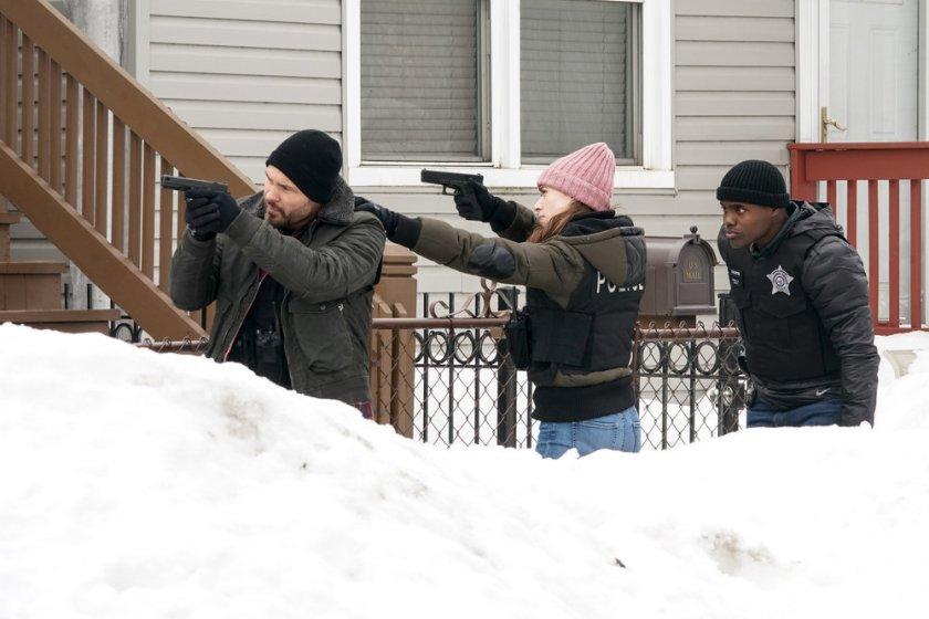 "CHICAGO P.D. -- ""The Radical Truth"" Episode 810 -- Pictured: (l-r) Patrick John Flueger as Adam Ruzek, Marina Squerciati as Kim Burgess, Cleveland Berto as Andre Cooper -- (Photo by: Lori Allen/NBC)"