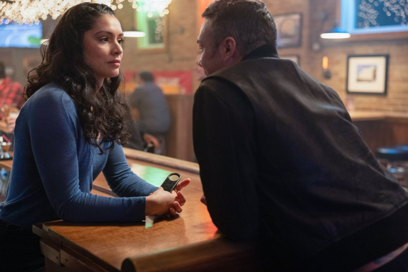 """CHICAGO FIRE -- """"A Couple Hundred Degrees"""" Episode 911 -- Pictured: (l-r) Miranda Rae Mayo as Stella Kidd, Taylor Kinney as Kelly Severide -- (Photo by: Adrian S. Burrows Sr./NBC)"""