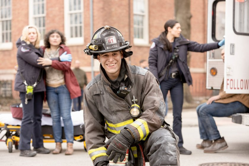 "CHICAGO FIRE -- ""Natural Born Firefighter"" Episode 912 -- Pictured: (l-r) Kara Killmer as Sylvie Brett, Alberto Rosende as Blake Gallo, Hanako Greensmith as Violet -- (Photo by: Adrian S. Burrows Sr./NBC)"