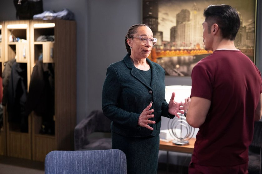 """CHICAGO MED -- """"What A Tangle Web We Weave"""" Episode 613 -- Pictured: (l-r) S. Epatha Merkerson as Sharon Goodwin, Brian Tee as Ethan Choi -- (Photo by: Adrian S Burrows Sr./NBC)"""