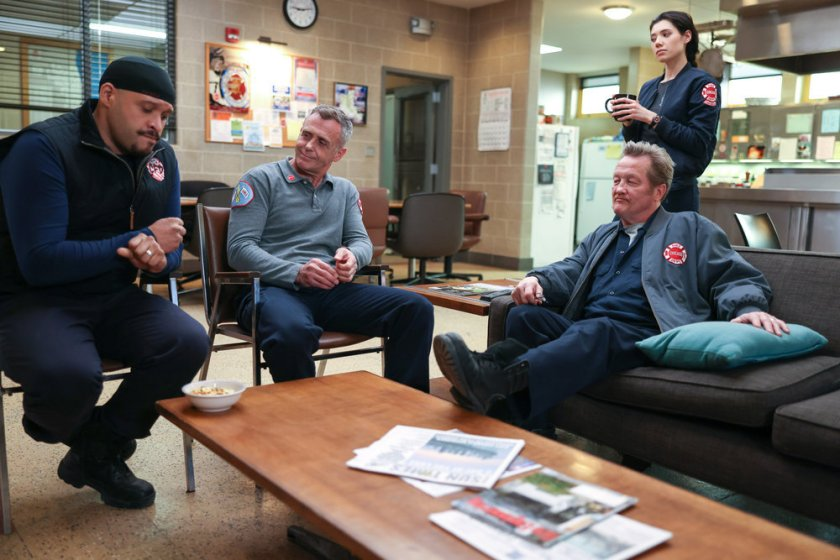 """CHICAGO FIRE -- """"Don't Hang Up"""" Episode 913 -- Pictured: (l-r) Joe Minoso as Joe Cruz, David Eigenberg as Christopher Herrmann, Hanako Greensmith as Violet, Christian Stolte as Randall """"Mouch"""" McHolland -- (Photo by: Adrian S. Burrows Sr./NBC)"""