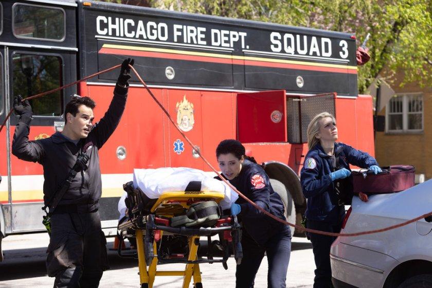 "CHICAGO FIRE -- ""Don't Hang Up"" Episode 913 -- Pictured: (l-r) Alberto Rosende as Blake Gallo, Hanako Greensmith as Violet, Kara Killmer as Sylvie Brett -- (Photo by: Adrian S. Burrows Sr./NBC)"