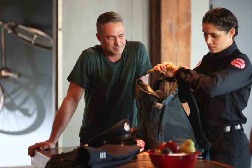 """CHICAGO FIRE -- """"Don't Hang Up"""" Episode 913 -- Pictured: (l-r) Taylor Kinney as Kelly Severide, Miranda Rae Mayo as Stella Kidd -- (Photo by: Adrian S. Burrows Sr./NBC)"""