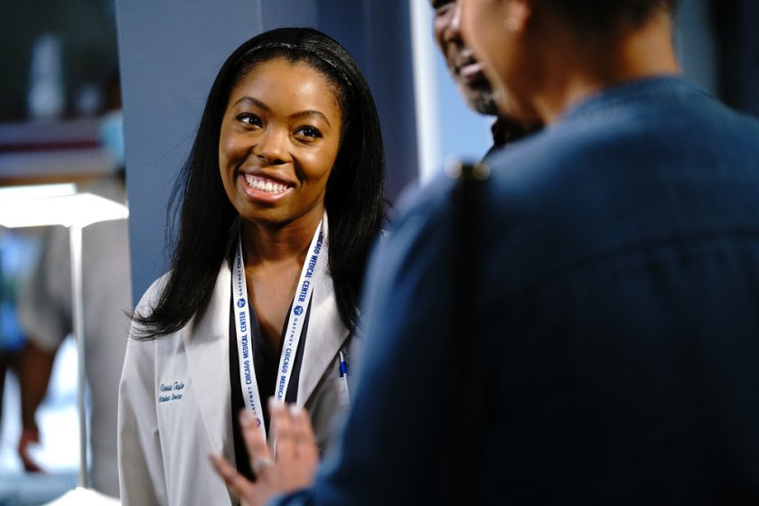 """CHICAGO MED -- """"Stories, Secrets, Half Truth and Lies"""" Episode 615 -- Pictured: Asjha Cooper as Vanessa Taylor -- (Photo by: Elizabeth Sisson/NBC)"""