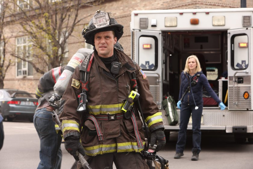 """CHICAGO FIRE -- """"What Comes Next"""" Episode 914 -- Pictured: (l-r) Jesse Spencer as Matthew Casey, Kara Killmer as Sylvie Brett -- (Photo by: Adrian S. Burrows Sr./NBC)"""