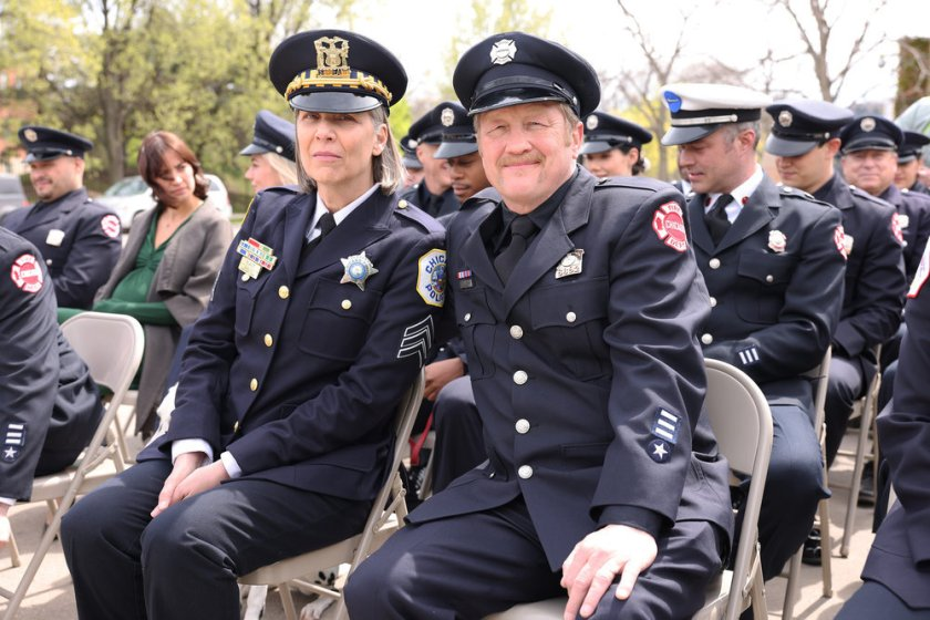 """CHICAGO FIRE -- """"A White Knuckle Panic"""" Episode 915 -- Pictured: (l-r) Amy Morton as Trudy Platt, Christian Stolte as Randall """"Mouch"""" McHolland -- (Photo by: Adrian S. Burrows Sr./NBC)"""