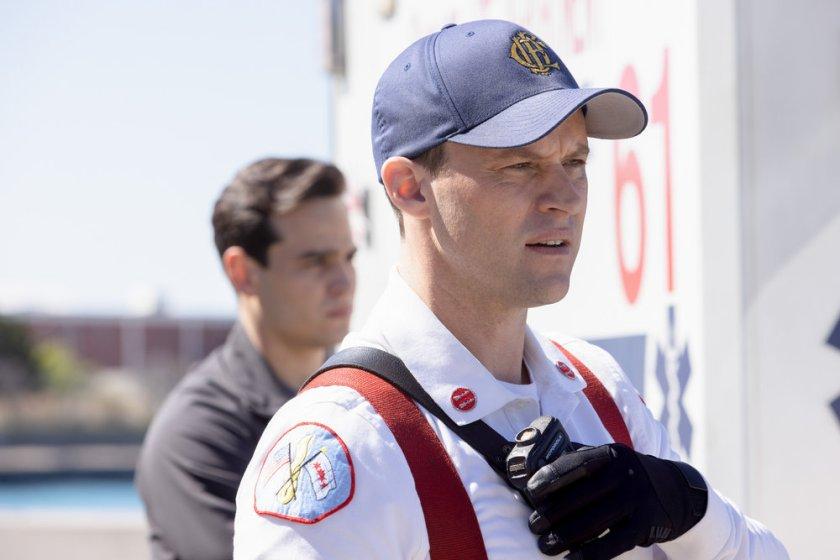 "CHICAGO FIRE -- ""No Survivors"" Episode 916 -- Pictured: (l-r) Alberto Rosende as Blake Gallo, Jesse Spencer as Matthew Casey -- (Photo by: Adrian S. Burrows Sr./NBC)"