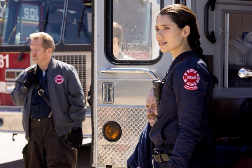 """CHICAGO FIRE -- """"No Survivors"""" Episode 916 -- Pictured: (l-r) Christian Stolte as Randall """"Mouch"""" McHolland, Hanako Greensmith as Violet -- (Photo by: Adrian S. Burrows Sr./NBC)"""