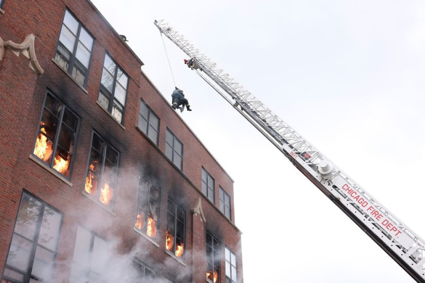 """CHICAGO FIRE -- """"Mayday"""" Episode 1001 -- Pictured: Building on Fire -- (Photo by: Adrian S. Burrows Sr./NBC)"""
