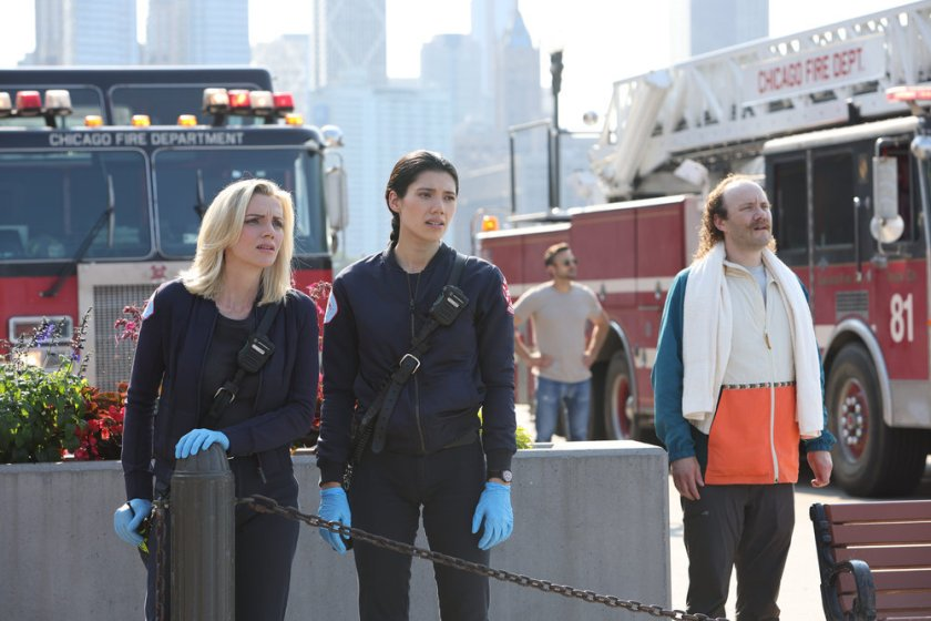 "CHICAGO FIRE -- ""Mayday"" Episode 1001 -- Pictured: (l-r) Kara Killmer as Sylvie Brett, Hanako Greensmith as Violet -- (Photo by: Adrian S. Burrows Sr./NBC)"