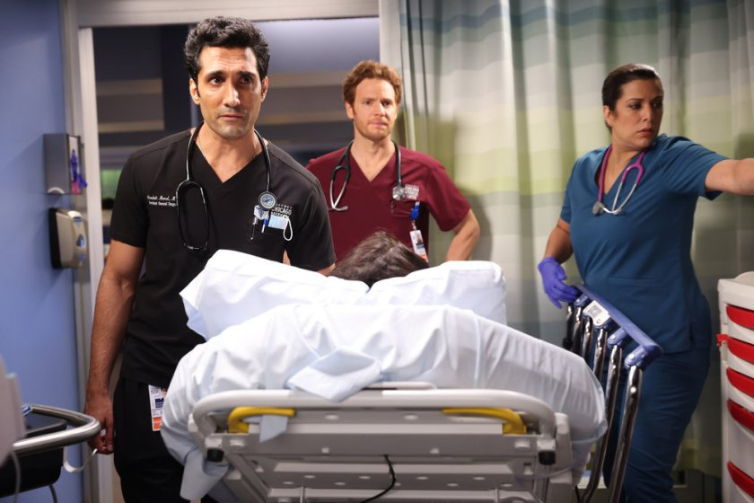 """CHICAGO MED -- """"You Can't Always Trust What You See"""" Episode 701 -- Pictured: (l-r) Dominic Rains as Crockett Marcel, Nick Gehlfuss as Dr. Will Halstead -- (Photo by: George Burns Jr/NBC)"""