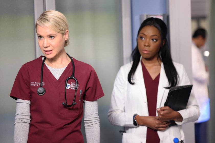 """CHICAGO MED -- """"Status Quo, aka The Mess We're In"""" Episode 704 -- Pictured: (l-r) Kristin Hager as Dr. Stevie Hammer, Asjha Cooper as Vanessa Taylor -- (Photo by: George Burns Jr/NBC)"""