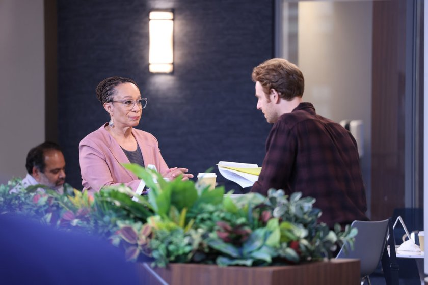 """CHICAGO MED -- """"Status Quo, aka The Mess We're In"""" Episode 704 -- Pictured: (l-r) S. Epatha Merkerson as Sharon Goodwin, Nick Gehlfuss as Dr. Will Halstead -- (Photo by: George Burns Jr/NBC)"""
