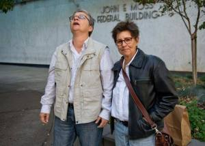 Pascale (left) and her wife Susan, founders of Yubanet, immediately after Pascale's release.