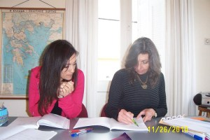 My classmate Suzy, left, studying with our teacher Dora at the Athens Centre.