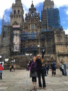 With my friend and travel buddy Eleanore (right) at the end of the Camino.