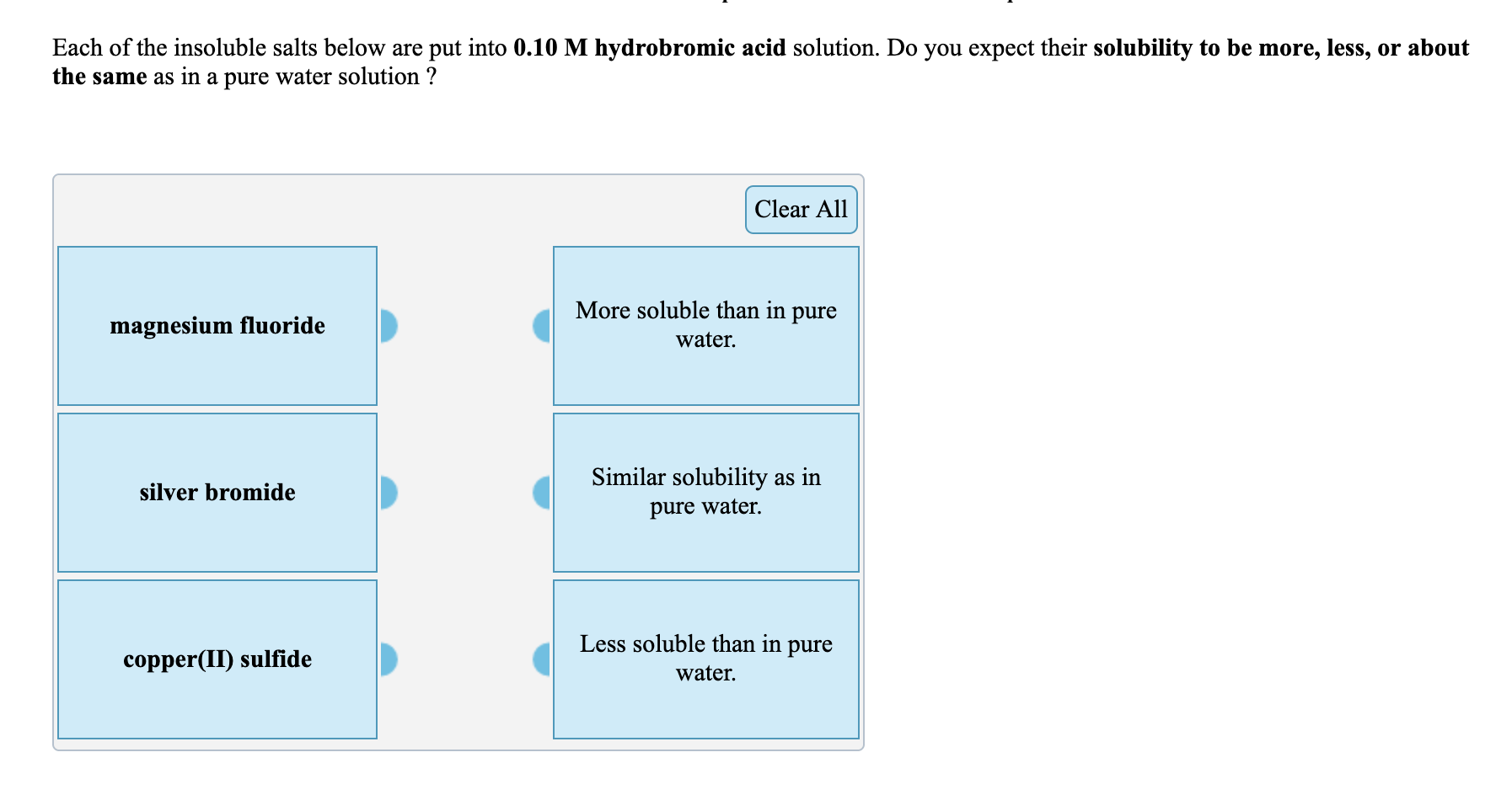Each Of The Insoluble Salts Below Are Put Into 0 10 M