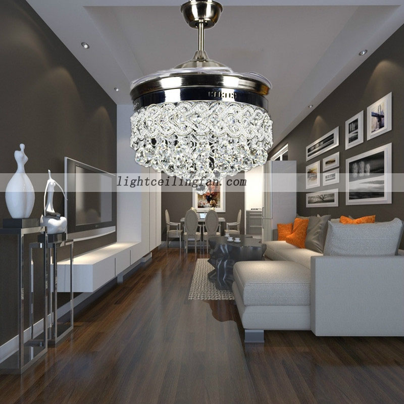 Retractable Crystal LED Ceiling Fan With Remote