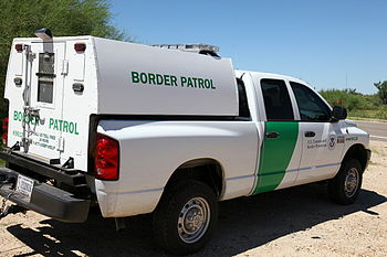 United States Border Patrol Dodge Ram at a che...