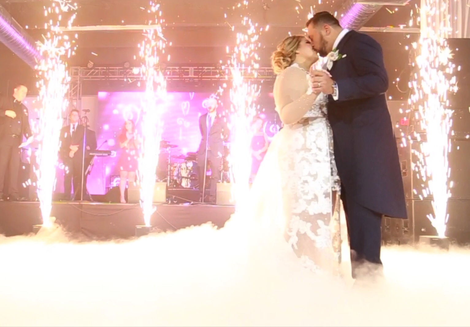 Special effects - low lying fog and sparkular machine for wedding