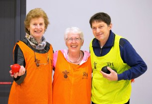 L-R Irene Vaughan, Bridget Wilcock and James O'Meara taking part in the Go For Life Games at Inagh Community Centre.The overall aim of Go for Life is to get older people more active, more often. The aim of the Go for Life Games is to involve older people in recreational sport. The games are run with the support of Clare Sports Partnerships and the HSE..Pic Arthur Ellis.