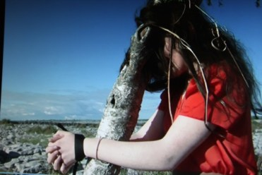 Ennis Community College Student Molly Marshall on location in the Burren, in a scene from the student film 'Down with Miss Nettleworth'