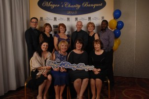 Pictured at the Mayor's Charity Banquet were the staff of Carrigoran. Carrigoran Day Care Centre was one of the beneficiaries of the event. Back row (l to r) Liam Ryan, Mary Cosgrove, Clare Deloughrey, Richard Gordon, Aineis Brock, Gray Makomi. Front row (l to r) Sharon Belmour, Mary Moynihan, Valerie Vaughan CEO Carrigoran, and Bernie Casey. Pic Terry O'Brien