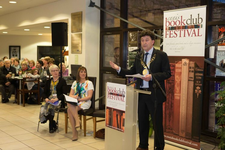 Mayor Johnny Flynn speaking at the opening of the Ennis Book Club Festival this weekend. Photograph by Eamon Ward