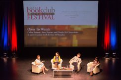 Evelyn O'Rourke with Nuala Ni Chonchuir, Colin Barrett and Sara Baume at the Ennis Book Club Festival this weekend. Photograph by Eamon Ward