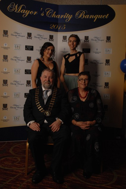 Cllr John Crowe with his wife Seppie and daughters Zoe ( back row on left) and Siobhan at the Mayor's Charity Banquet in Treacy's West County Hotel. Pic by Terry O'Brien