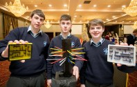 Adjudicators Prize - Crazy Maze (Rice College Ennis) , Brian Molan, Eoghan Culligan and Brian McMahon pictured at the Award Ceremony in The Treacys West County Hotel Ennis on Thursday.Pic Arthur Ellis.