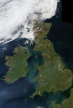Ireland and Britain from space at midday. Image modis/nasa