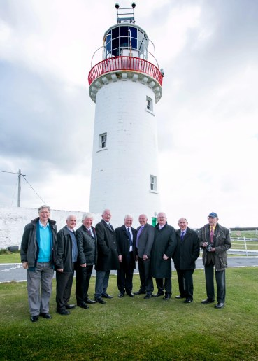 Pictured at Loop Head Lighthouse are former Lighthouse Keepers Ted Kennedy, Vincent Moran, Gerry Tevlin, Mick Culligan, Michael Tevlin,Kevin Magner, Senan Culligan and John Magner .Pic Arthur Ellis.