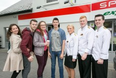 Pictured at the Official Rebranding of the SPAR Express in Bunratty Co Clare is Fair Citys Ryan Andrews (centre) with Shannon College of Hotel Management students L-R Tiffany Gold, Connor Molloy, Nina Dennehey, Mikaela Hegarty, Cathal McGettigan and Jack Mahon.Pic Arthur Ellis.