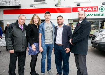 Pictured at the Official Rebranding of the SPAR Express in Bunratty Co Clare John Casey,Spar, SPAR Marketing Manager Anne Gallagher, Fair Citys Ryan Andrews, owner Mohammad Muhtar Warich and Eric Shally, Regional Manager SPAR.Pic Arthur Ellis.