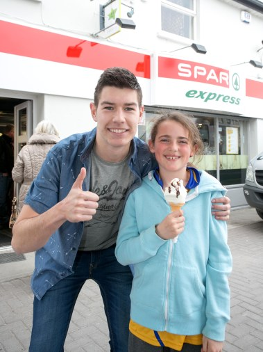 Pictured at the Official Rebranding of the SPAR Express in Bunratty Co Clare was Fair Citys Ryan Andrews and 10 year old Casey Twomey.Pic Arthur Ellis.