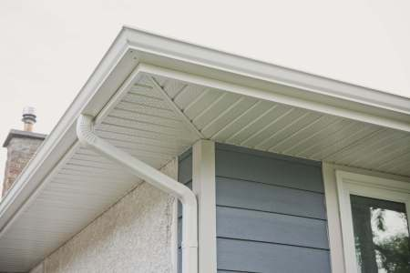 Soffit eavestrough and fascia close up