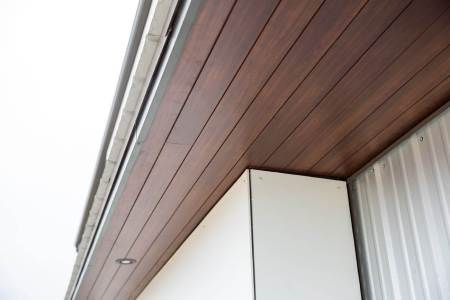 Hardie cement panels with longboard soffits