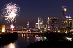 Fireworks explode over downtown Austin, Texas, in celebration of Independence Day on Thursday, July 4, 2013. (AP Photo/Austin American-Statesman, Jay Janner)