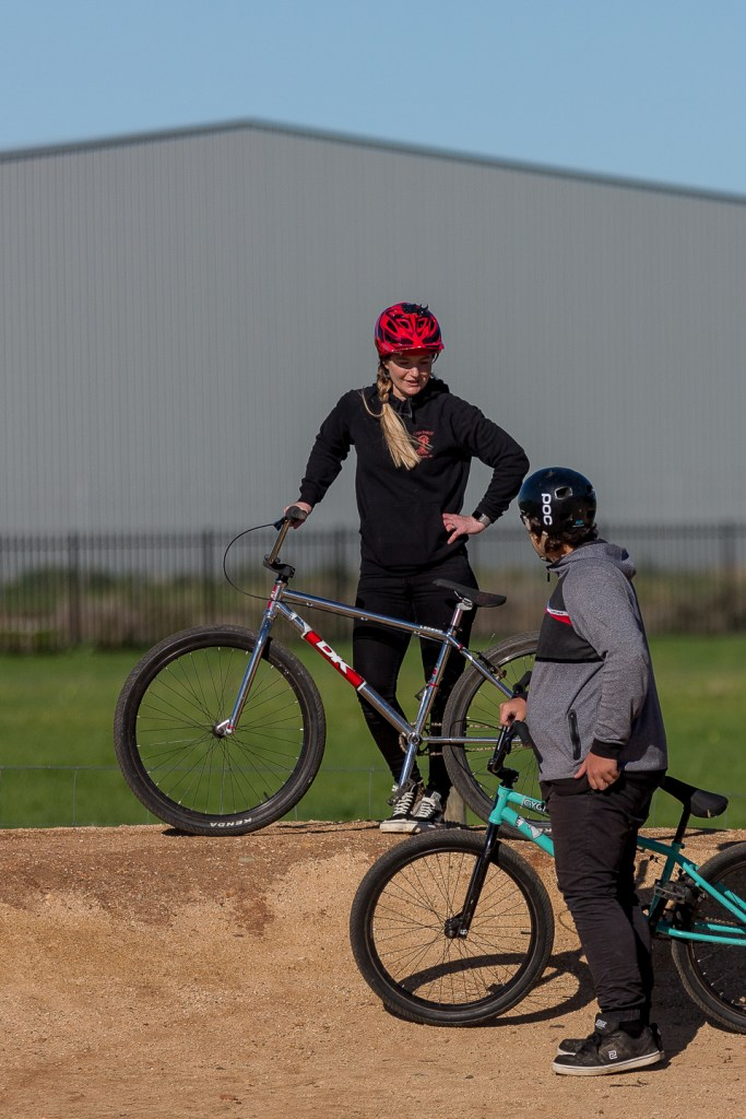 Lighthouse Youth Projects mentor Jackie Schapel with Ride participant at Seaford Dirt Jumps