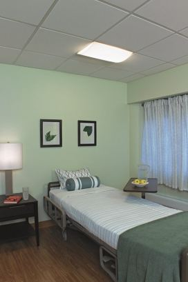 Visa Lighting's LED Unity recessed over-bed units are multifunction luminaires for hospital patient care rooms. Unity provides separately controlled reading, ambient, and exam lighting, as well as enhanced blue spectrum, amber night light and RGB visual interest. Image courtesy of Visa Lighting.
