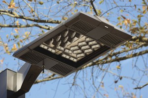Kim Altitude LED luminaire with integrated wireless (wiHUBB) control.